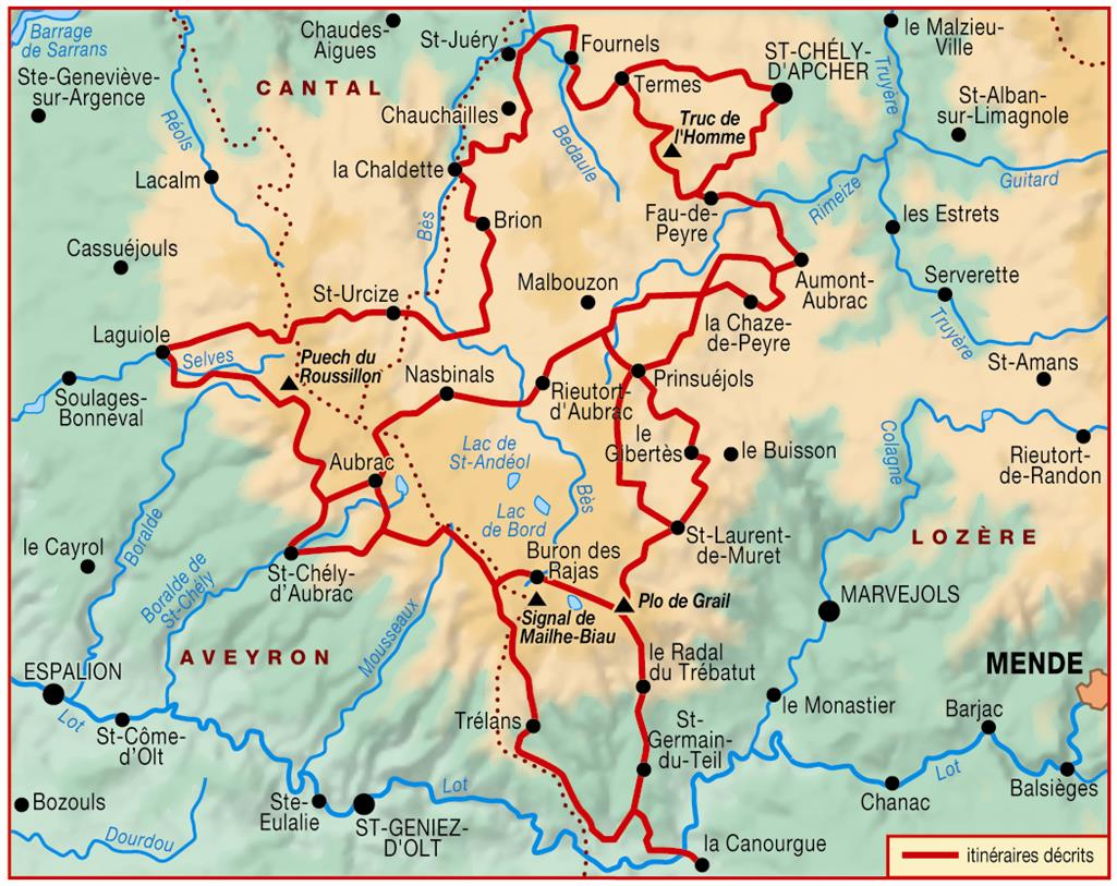 carte tour aubrac